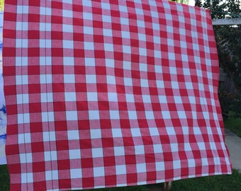 Vintage Red and White Check Cannon Tablecloth