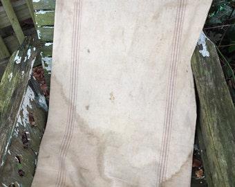 Vintage Striped Hemp Bag Feedsack/Grain Sack/Bag