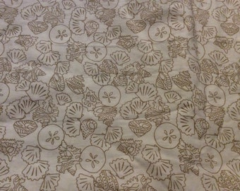 2 1/2 Yards of Vintage White with Gold Seashell Print Cotton Fabric