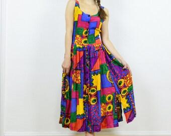 90s hippie dress, 90s boho dress, 90s grunge dress, summer dress, hippie print dress, colourful dress, festival dress, rayon dress