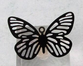 Butterfly Laser Filigree Charm, Black, 4 Pc. MB68