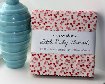 SALE Flannel 5 inch charm pack LITTLE Ruby Moda Fabric by Bonnie & Camille