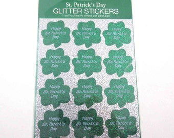 Vintage Green Glitter Shamrock St. Patrick's Day Stickers in Original Package by Gibson
