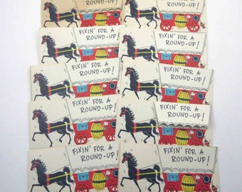Vintage Unused Party Invitation Cards Fixin for a Round Up Western Theme by Hallmark Set of 10