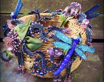 Beaded Sculpture - Dragonfly Playground Beaded Basket or Sculpture - by Hannah Rosner - made for a Toho Bead Challenge