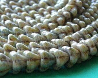 50% OFF SALE Czech Glass Beads Bell Flower 8x6mm Opaque Luster Green (25) CZP086