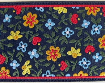 MILLE FLEURS high end Jacquard trim Red blue yellow green on black. 1 1/2 inch wide. 2029-A