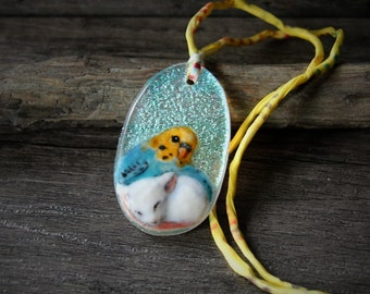 Sweet Little mouse and budgie friend. Necklace, fused glass pendant,  jewelry, budgie jewelry