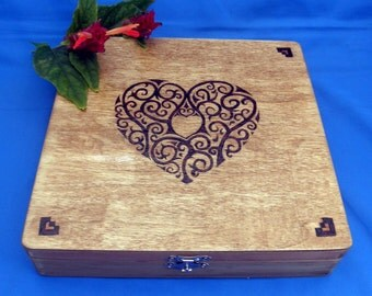 Keepsake or Trinket Box - Wood Box, Woodburned, Pyrography