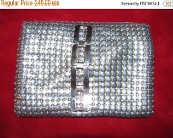 ON SALE Hip Bag Purse, I Phone, Vintage Silver Mesh Hippster Purse, Belt Loop, 1970's, HIppie, Very Retro Whiting Davis Style42J