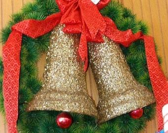 Christmas Wreath, Golden Bells, Circa 1960's Red Bow, Front Door Decor, Plastic Pine Needles, Department Store