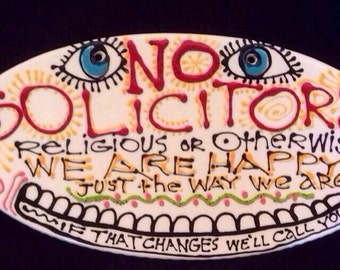 No Solicitors Ceramic Sign Ready to Ship