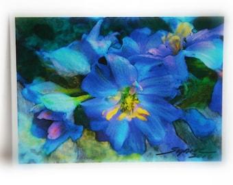 Delphiniums, 2.50x3.50 inches, tiny art, aceo original, miniature art, Artist trading cards, blue flowers, garden art, original art