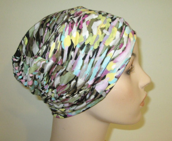 Chemo Hat Lycra Waves Slouch Hat Lycra Multi Colors  Play Sleep Cap, Cancer Hat, Alopecia Kids and Adult Chemo Hat