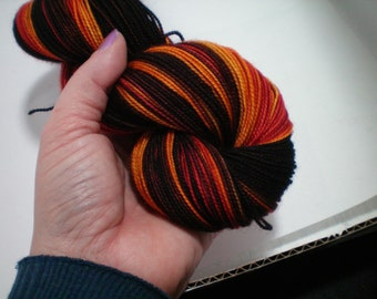 Flames in Shadows - Dyed to Order - Hand Dyed - Merino Wool Yarn - Fingering Weight