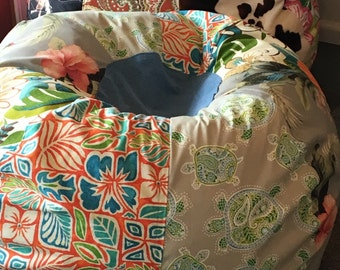 Hawaiian Vintage Style Tropical Beach Bean Bag Chair with hibiscus tiki turtles and parrots ready to go
