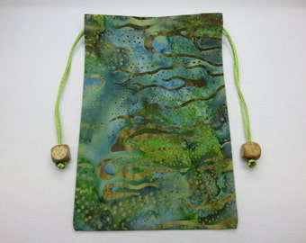Batik, Silk Lined Handmade Tarot Card Pouch, Tarot Card Bag 5.0 x 7.5