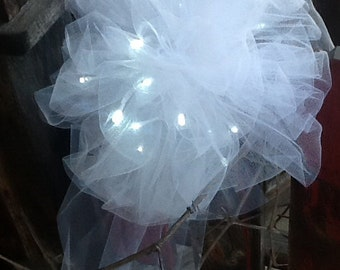 Wedding Pew BOW with streamers, soft white tulle with battery operated lights ~ use at your reception! too!