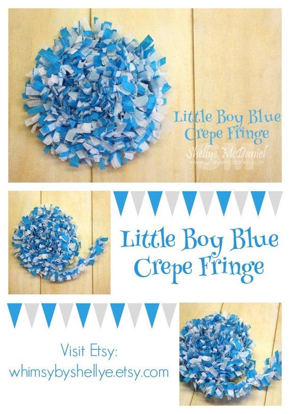 Little Boy Blue Handmade Crepe Paper Fringe, Festooning, Trim, Garland, Decoration, Party, Craft Supply, Streamer, DIY, Turquoise, Blue