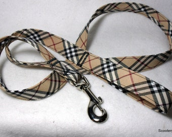 Handcrafted Black & Tan Plaid Print Dog Leash - Great Fall and Winter Look