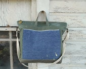 SALE Recycled military canvas carryall, tote bag - selvedge denim work apron, men unisex - eco vintage fabrics