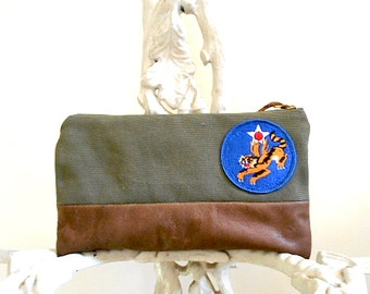 Military canvas, leather mini clutch, lg utility pouch, cosmetic bag - eco vintage fabrics