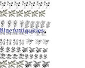 Floral Decal Sheet for Enameling-Torch Fire decals (Painting with Fire) Immersion Enameling