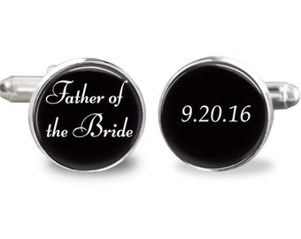 Father of the bride cufflinks, personalized date cufflinks, wedding cufflinks, custom wedding date cufflinks, gift for men
