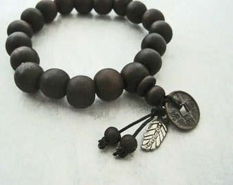 Mahogany Wooden Beaded Bracelet Chinese Buddha Zen Feather