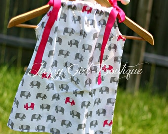 Girls Pillowcase Dress with Pink and Grey Elephants and Fuschia Pink Ties Sz 6mo, 12mo, 18mo, 2T, 3T, 4T, 5 Sz 6, 7, 8 Three Dollars More