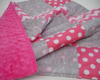 You Are My Sunshine Elephants in Hot Pink and Gray Minky Blanket MADE TO ORDER No Batting