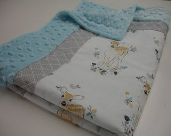 Fawn in Aspen Minky Blanket You Choose Size and Minky Color MADE TO ORDER No Batting