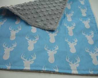 Deer Head in Blue with Gray Minky Baby Burp Cloth 14 x 16 READY TO SHIP On Sale