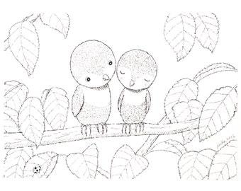 Bird Illustration Print Black and White Art Ink Drawing Print Bird Wall Decor Nursery Art Print Woodland Nursery Decor Unique Wedding gift