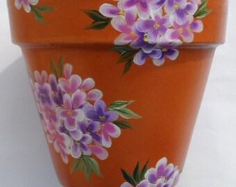Hydrangea Clay Pot Hand Painted Hydrangeas Clay Flower Pot