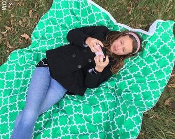 Picnic Blanket, Green Quatrefoil, Quatrefoil Blanket, Beach Blanket, Stadium Blanket, Waterproof Backing