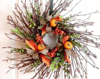 Rustic fall wreath with berries, fall door décor, Thanksgiving wreath, fall twig wreath, rustic wreath, autumn berry wreath fall home decor