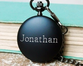 Personalized Men's Pocket Watch with Engraved Name. Fathers Day Gift, Groomsmen Gifts, Best Man or Wedding Party Gifts