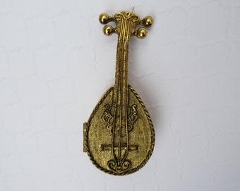 Miniature Avon Mandolin Perfume compact Collectible Empty Beauty Makeup Case Mini Antique Brass Compact Musical Instrument Unique Gift idea