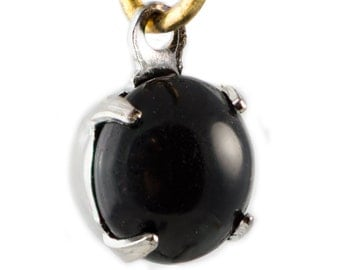 Vintage Black Glass Stone 1 Loop Silver Plated Setting Drops 7mm (6)rnd003F