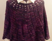 Black Plum Hand-knit Poncho