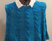 Cabled Blues Hand-knit Poncho