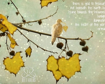 Proceeds Benefit Animal Rescue - Retablo Affirmation Photography - Golden Leaves, Bokeh Sky, Bird with Gold Heart, Poetry, Affirmation
