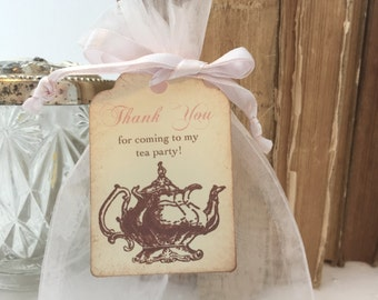 Tea Party Favor Sets DIY Organza Bags and Teapot Tags Blush Pink