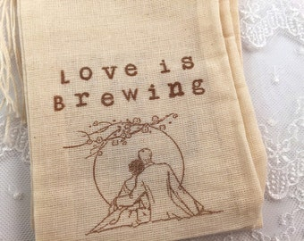 Love is Brewing Wedding Bags Favor Bags Muslin Drawstring SET OF 10