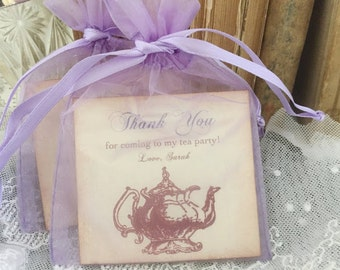 Tea Favors Tea Party Birthday Bridal Shower Fully Assembled Lavender Purple