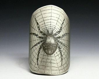 Spider, bicycle badge, bicycle accessories, bike badge, bike accessories, head badge, spider art, insect art, spider web, etched nickel