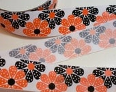 Orange Ribbon, Orange Flower Grosgrain Ribbon 1 1/2 inches wide x 9 yards, Offray Daisy Dots Ribbon, 50% Off Sale