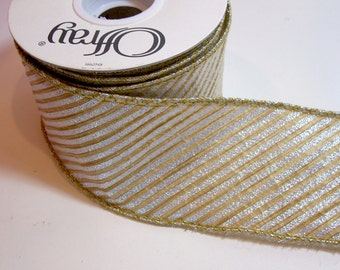 Gold Ribbon, Diagonal Striped Wired Fabric Ribbon 2 1/2 inches wide x 10 yards, Offray Diags Ribbon in Silver and Gold