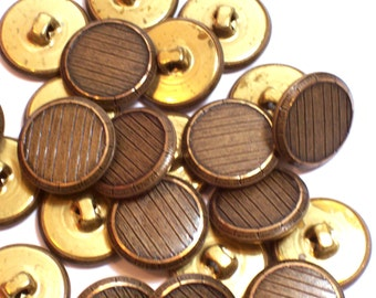 Gold Buttons, Vintage Goldtone Metal Buttons 3/4 inch(19 mm) diameter x 25 pieces, Shank Back, Fine Lines Gold Buttons